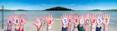 Photo Children Hands Building Colorful English Word Are You Serious