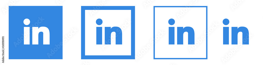 Linkedin icons set, isolated. Vector social media logo. LinkedIn - social networking service. Ukraine. June 2020