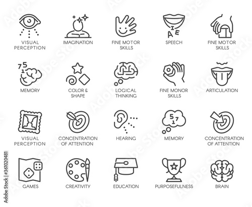 Fotomural Premium Icons Pack on Human Cognitive Abilities and Preschool Development of Children