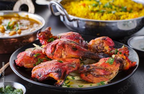 indian tandoori chicken with onions and cilantro Wallpaper Mural