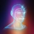 Leinwandbild Motiv Wireframed robotic man head representing artificial intelligence 3D rendering