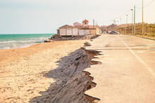 Road Near The Beach Collapsed By A Sea Storm. Climate Change