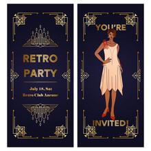 Art Deco Vintage Invitation With Illustration Of Elegant Woman. Cover, Vertical Banner, Story A-la Roaring 20s. Black And Gold Geometric Frame With Copy Space. Layout Is Suitable For Two-sided Printed
