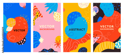 Fototapeta Vector set of abstract creative backgrounds in minimal trendy style with copy space for text - design templates for social media stories - simple, stylish and minimal wallpaper designs obraz