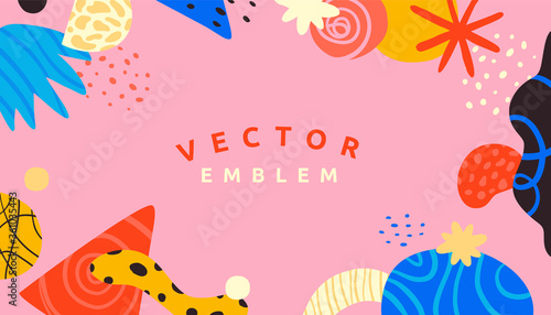 Vector abstract creative background in minimal trendy style with copy space for text and modern art shapes - digital collage, horizontal design template , simple, stylish and minimal wallpaper design