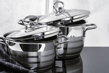 Aluminum Cookware On Black Ind...