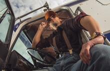 Truck Driver Taking Break At R...