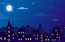 Vector Illustration Of Night City With Buildings, Stars, Clouds And Moon At The Sky. Cityscape Background In Flat Style. Skyline Silhouette With Yellow Windows. Night View For Banner, Web Design.