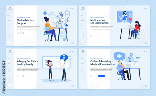 Obraz Set of web page design templates on medicine and health care. Vector illustrations for website design and development. - fototapety do salonu