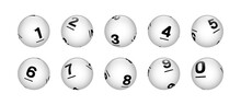 Vector White Sphere Lottery Bingo Balls From Number 0 To 9