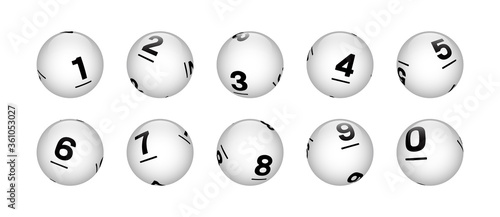 Fényképezés Vector White Sphere Lottery Bingo Balls From Number 0 to 9