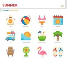 Summer Season Icon Set,flat St...