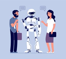 People Talk With Robot. Techno...