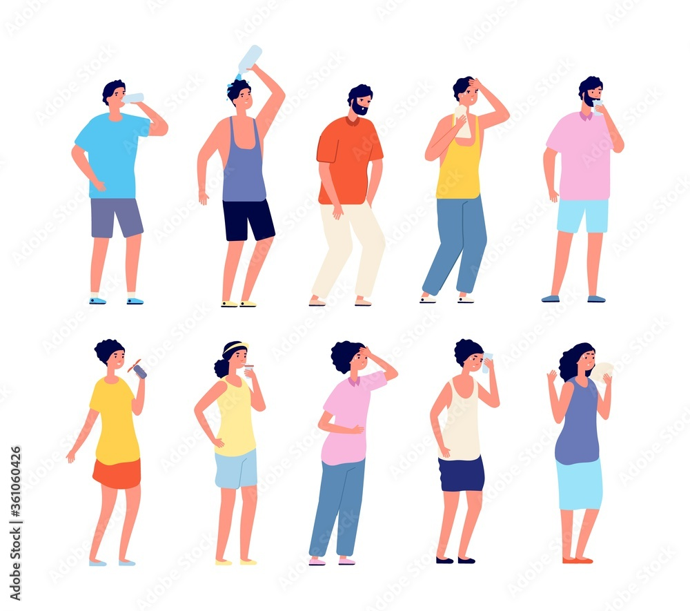 Fototapeta People cooling hot summer. Sweaty adult, woman man with cool beverages. Person relaxation and drinking, outdoor activity vector set. Hot people drink water, healthy character refresh illustration