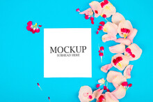 Mockup Of Pink Flowers And Whi...