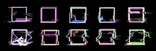Glitch Square Frames. Set Of 1...