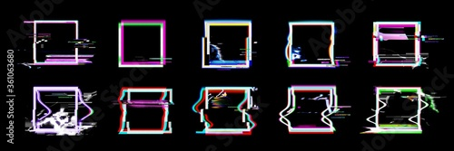 Fotografie, Tablou Glitch square frames