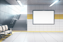 Chairs For Waiting In Modern Metro Station With Blank Poster.