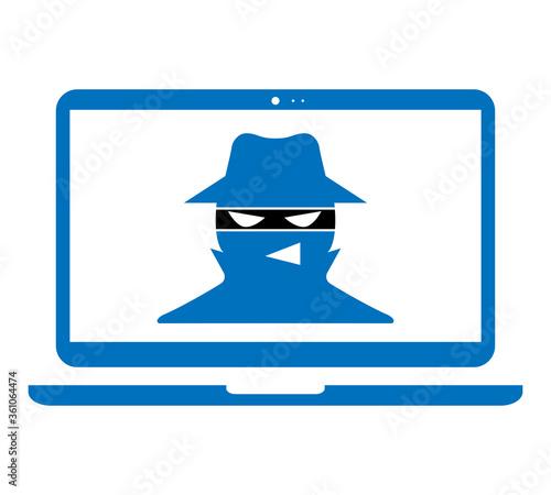 Fototapety, obrazy: Hacker icon.hacker in mask on laptop screen. vector illustration