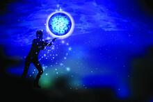 Concept Cosmos Inside Us. Yoga...