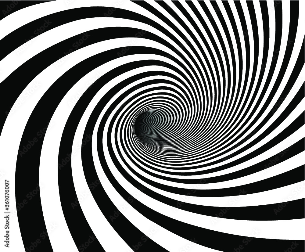 Fototapeta Vector shaded 3D illustration of tunnel vortex view with geometrical hypnotic black and white flowing inside a hole.