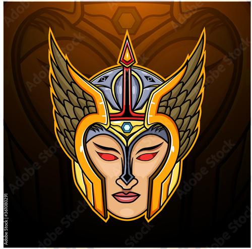 Платно Valkyrie head esport mascot logo design