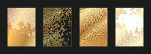 Abstract Golden Worms Pattern Set. Gold Bark Beetle Pattern Idea For Cover Design.