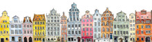 Multi-colored Retro And Vintage Old-fashioned Houses. Amsterdam. Watercolor Hand Drawing Illustration
