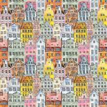 Multi-colored Retro And Vintage Old-fashioned Houses. Seamless Pattern. Amsterdam. Watercolor Hand Drawing Illustration