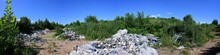 Panoramic 360 Photo Of Garbage In The Field Against The Blue Sky In Summer Sunny Weather