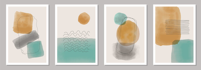 Trendy set of abstract creative minimal artistic hand painted compositions