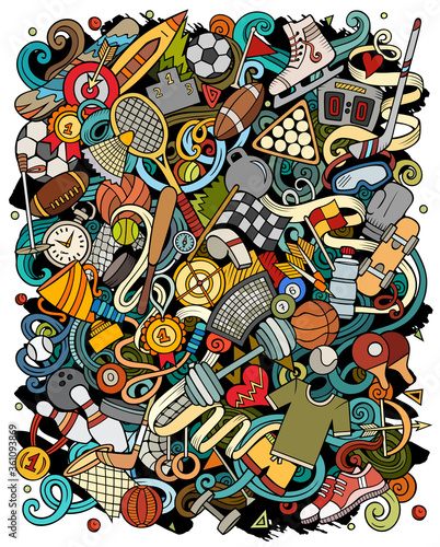 Fototapeta Sports hand drawn vector doodles illustration. Activities poster design. obraz