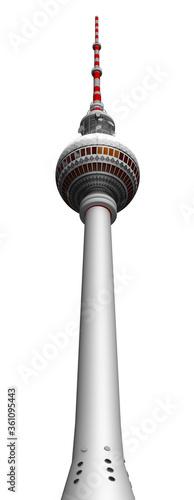 3d Berliner Fernsehturm, Telespargel perspektive  freigestellt Wallpaper Mural