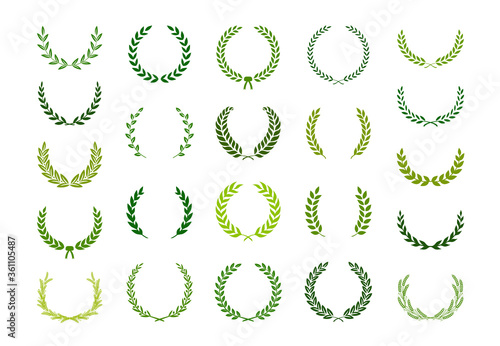 Obraz na plátně Set of green silhouette laurel foliate, wheat and olive wreaths depicting an award, achievement, heraldry, nobility