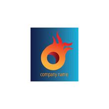Fire Wheel Logo Simple Background Color. Vector Design