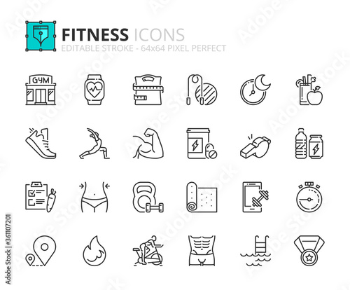 Simple set of outline icons about fitness Canvas Print