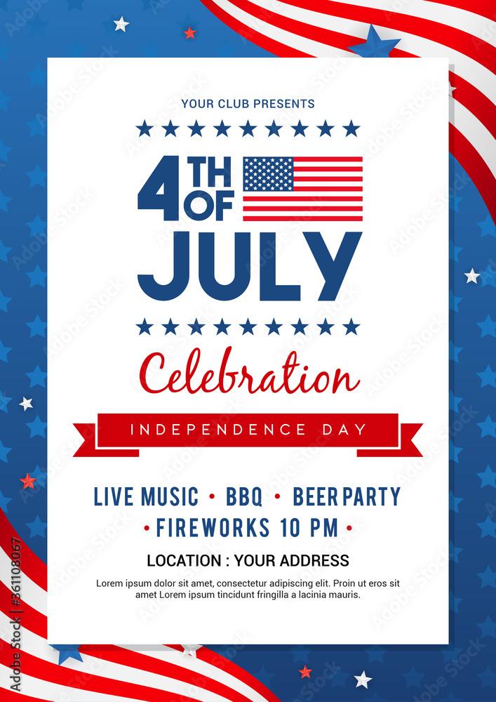 Fototapeta 4th of July poster templates Vector illustration. USA flag waving frame on blue star pattern background. Flyer design