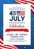 4th of July poster templates Vector illustration. USA flag waving frame on blue star pattern background. Flyer design