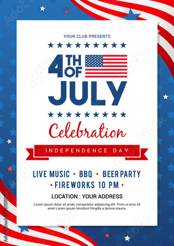 4th of July poster templates Vector illustration. USA flag waving frame on blue star pattern background. Flyer design - 361108067
