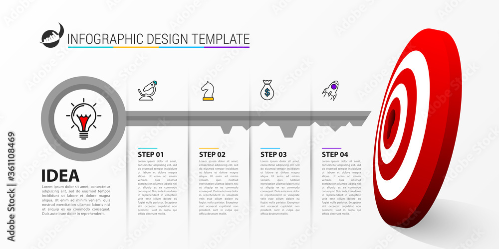 Fototapeta Infographic design template. Creative concept with 4 steps