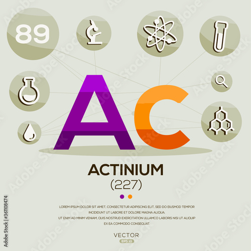 Photo AC (Actinium)The periodic table element,letters and icons,Vector illustration