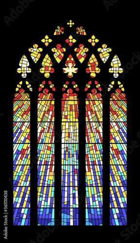 Fototapeta Stained Glass Window Cathedral Mosaic Medieval Style