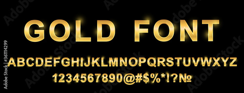 Fotomural Golden alphabet font, letters and numbers - stock vector