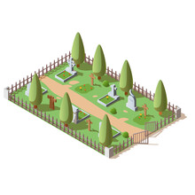 3d Vector Illustration Of Graveyard With Wooden Crosses And Granite Tombstones, Isolated On White Background. Isometric Rows Of Gravestones In Cemetery. Old Burial Place Of The Dead, Eternal Peace.