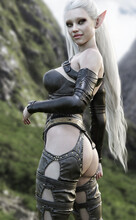 Portrait Of A Stunning Exotic Fantasy Dark Elf Female Warrior With Long White Hair Wearing Leather Armor . 3d Rendering . Fantasy Illustration