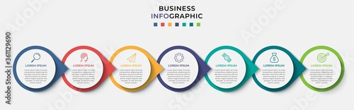 Valokuvatapetti Business Infographic design template Vector with icons and 7 seven options or steps