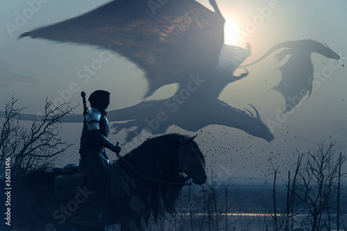 Fotografija Brave epic knight riding horse on a sunset landscape with flying big dragons - c