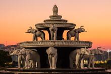 Elephant Fountain At Sunset