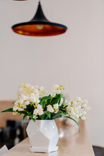 Small White Vase With Lilies O...