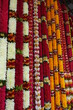 Hanging floral wreaths at temple